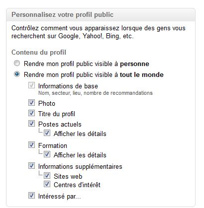 profil public linkedin