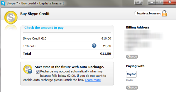 Compra crédito Skype