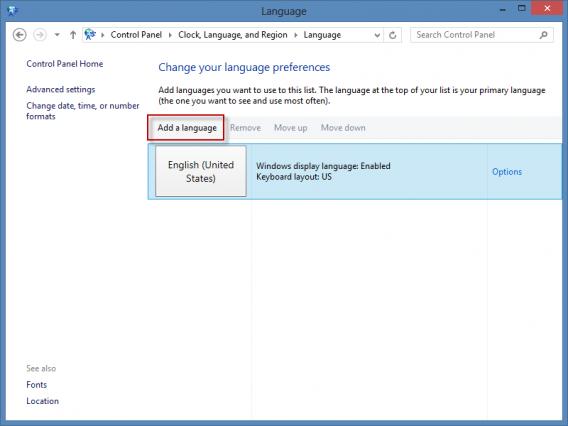 Ajouter une langue Windows 8
