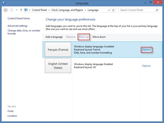 remonter langue Windows 8