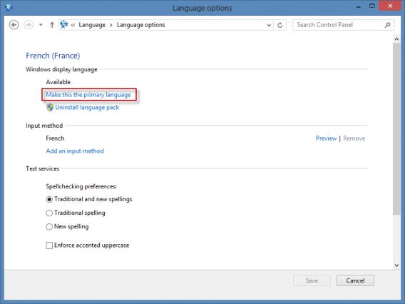 Langue principale Windows 8