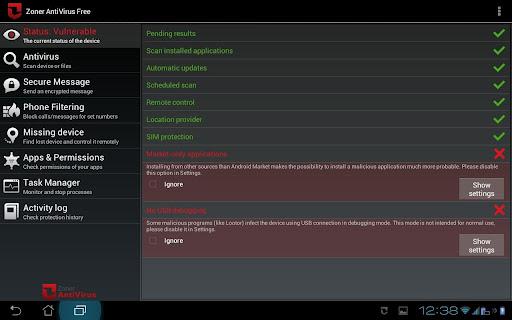 Zone AntiVirus Android tem muitos recursos para eliminar os vírus