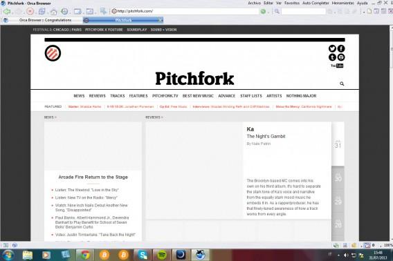 Page Orca - navigateur Internet