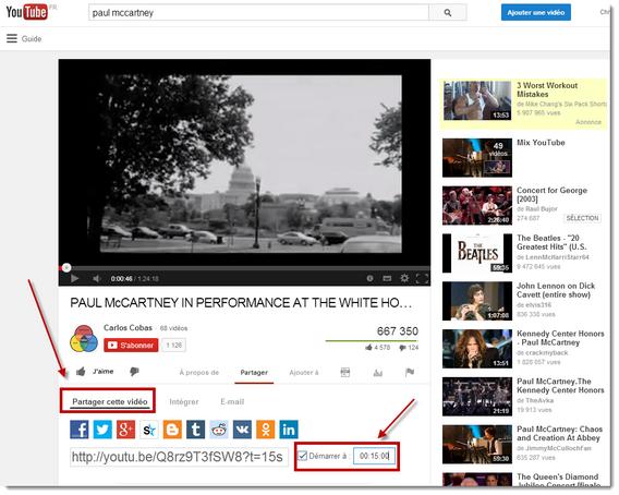 Youtube - Partager une vidéo à partir d'un point précis