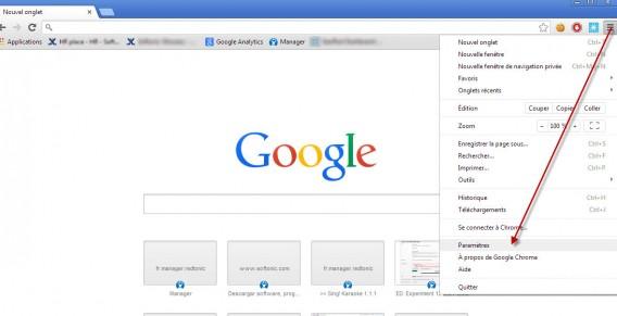 Chrome tuto 1 - paramètres
