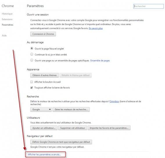 Chrome tuto 2 - Afficher les paramères avancés...
