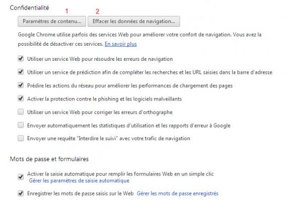 Chrome tuto 3 - Paramères de contenu et Effacer les données de naviguation