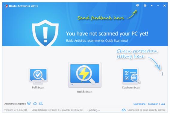 Ecran d'accueil de Baidu Antivirus