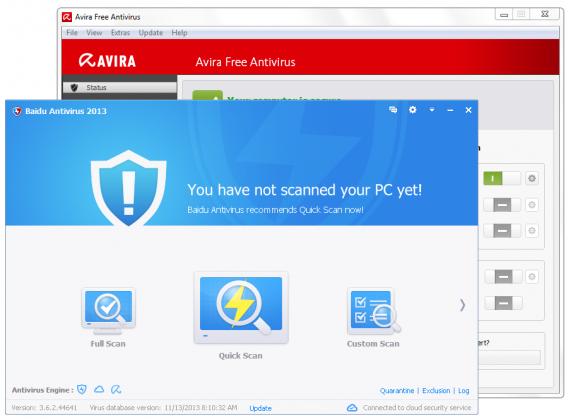 Baidu Antivirus comparé à Avira