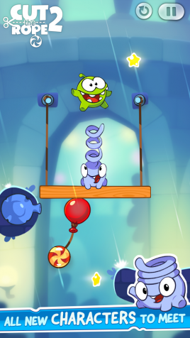Novas aventuras do monstro Om Nom no Cut Rope 2 é ideal para se distrair no transporte público