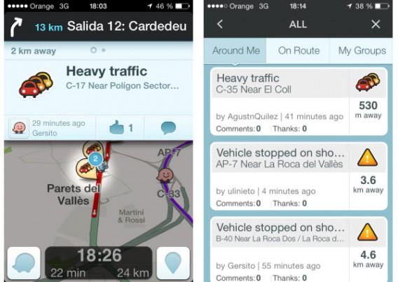 Waze informa a condição da estrada constantemente