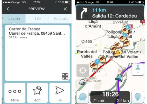 Interface do Waze