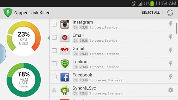 Zapper Task Killer & Manager: fermez les applis indésirables
