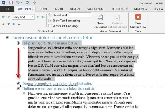 Organização do texto pela Estrutura de Tópicos mantém layout sem alteração