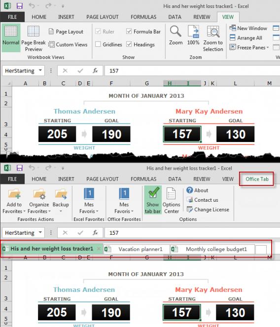 Excel z i bez Office Tabs