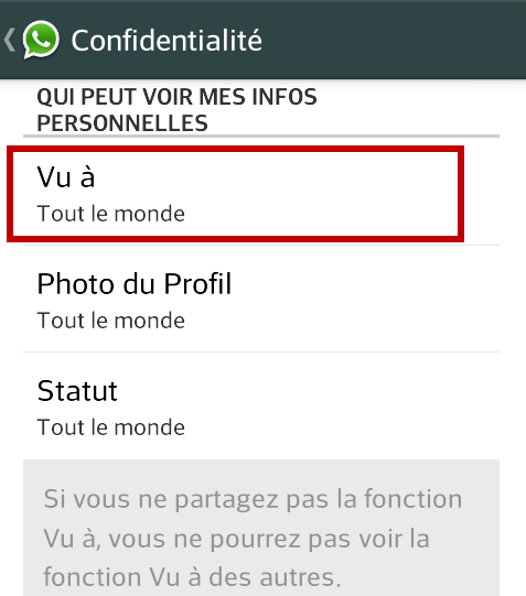 WhatsApp - vu à