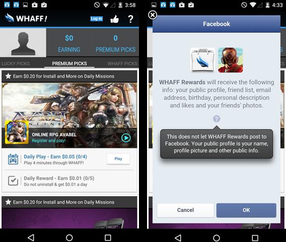 WHAFF carrrega interface para confundir o usuário