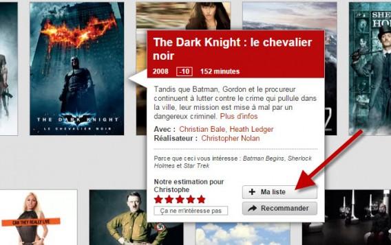 Netflix - ajouter à ma liste