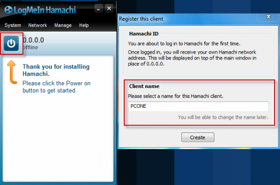 Register client Hamachi