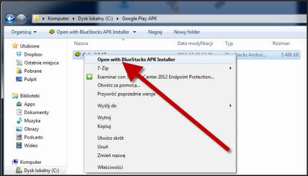 Otwieranie plików APK w BlueStacks App Player na Windows