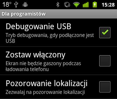 Android debuggowanie USB