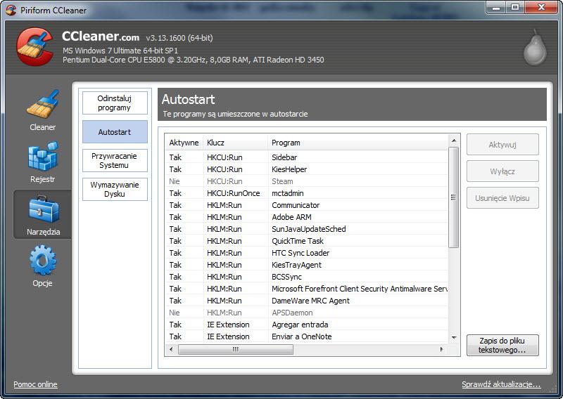 CCleaner. Autostart