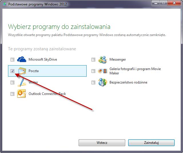 Windows Mail instalacja
