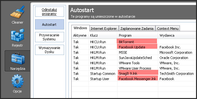 Autostrat w CCleaner