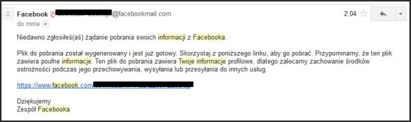 Email z linkiem do pobrania Twoich danych