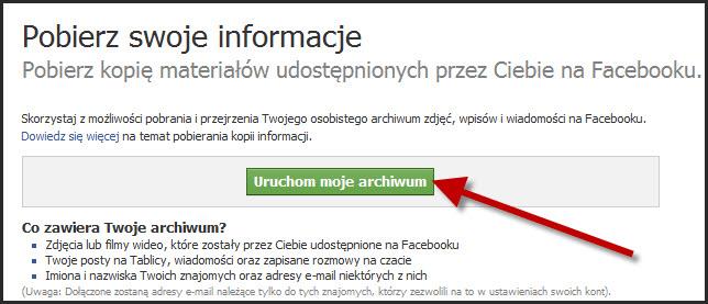 Pobierz swoje dane z Facebooka