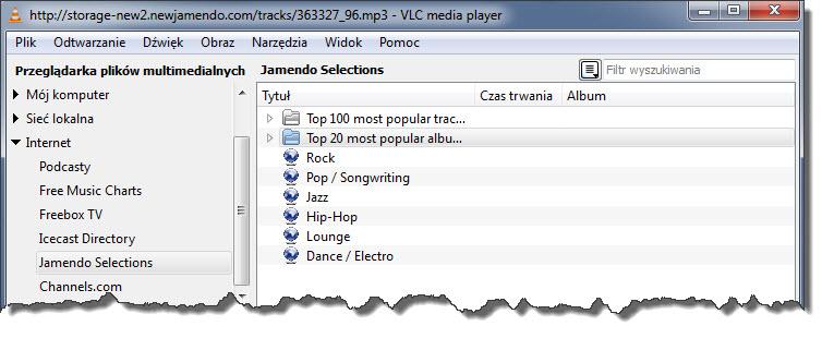 Słuchanie muzyki w VLC