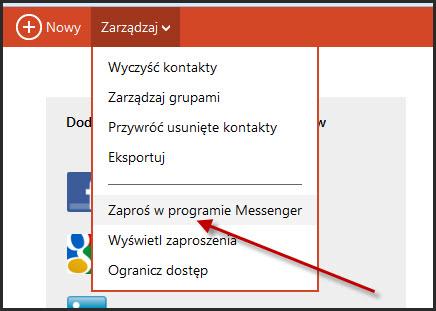 Dodaj w programie Messenger poprzez Outlook.com