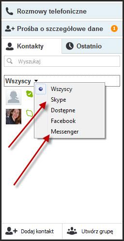 Skype po zalogowaniu sie do MSN