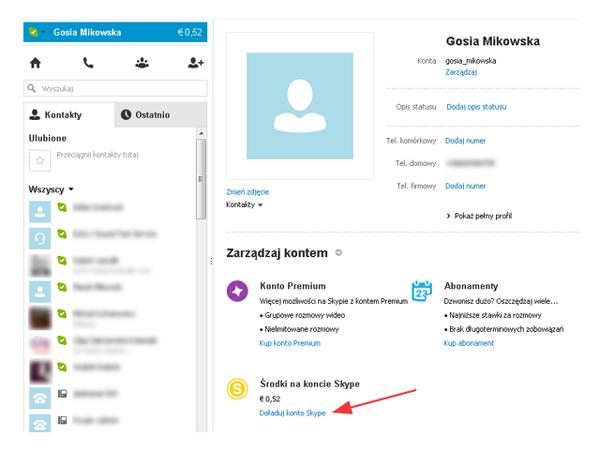 Jak doładować konto Skype