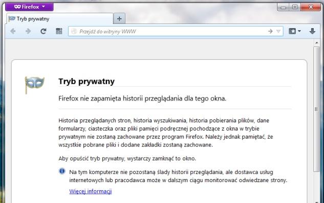 Co nowego w Mozilla Firefox 20 tryb prywatny w nowym oknie