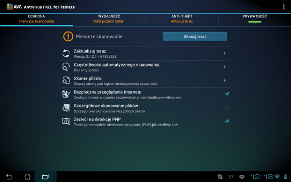 AVG Anti-Virus Free na tablet z Android
