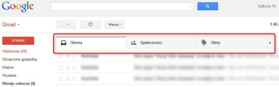 nowy gmail - karty w skrzynce odbiorczej