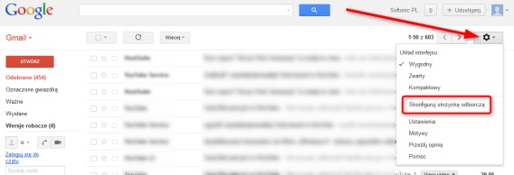 nowy gmail - skonfiguruj skrzynke odbiorczą