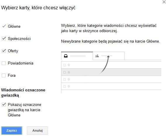 nowy gmail - wybierz karty, ktore chcesz włączyć