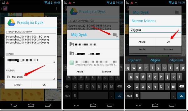 Tworzenie folderu w Google Drive na Android