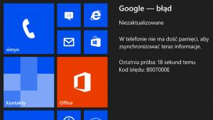 Błąd synchronizacji konta Google 8007000E w Windows Phone – co robić?