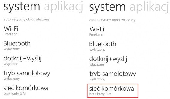 Windows Phone sieć komórkowa
