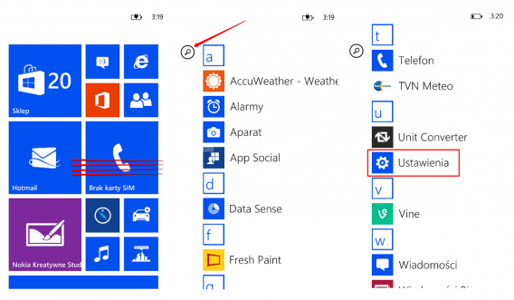 Windows Phone ustawienia