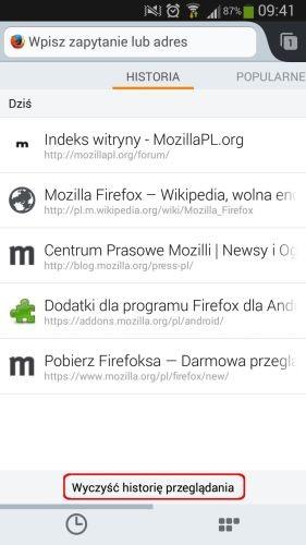 Firefox Android usuwanie historii