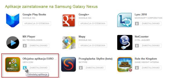 Odinstaluj aplikacje z Google Play