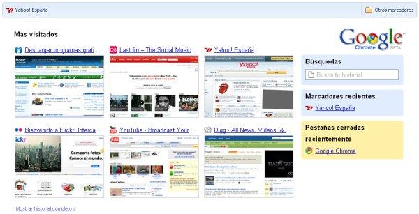 La página principal de Chrome