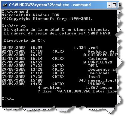 La línea de comandos de Windows XP