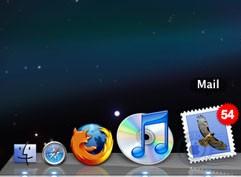 Una esquina del dock de Mac OS X