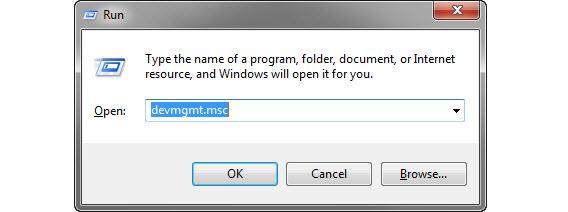 Digite devmgmt.msc na janela de executar para abrir o gerenciador de dispositivo