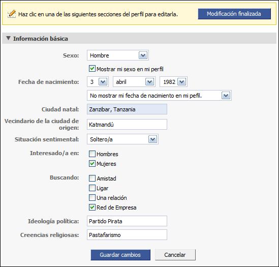Editando la información personal